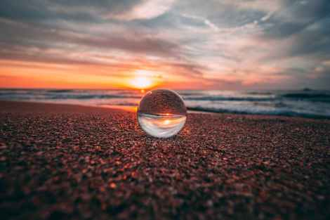 clear bubble on sand